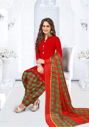 Surpassing Red Color Designer Chex Printed Leyon Casual Wear Salwar Suit