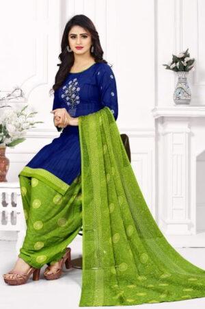 Festive Dark Blue Color Designer Printed Leyon Salwar Suit For Festive Wear