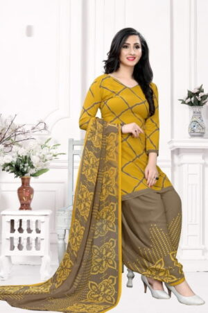Shattering Mustard Color Leyon Designer Printed Fancy Dress Material For Casual Wear
