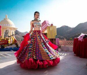 Bewildering Multi Color Designer Foil Mirror Work Rayon Cotton Function Wear Lehenga Choli
