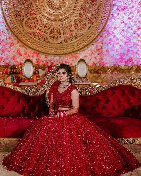 Fabulous Red Color Designer Designer Georgette Chain Sequence Work Lehenga Choli For Wedding Wear