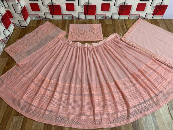 Captivation Peach Color Designer Georgette Chain Stitch Work Wedding Wear Lehenga Choli