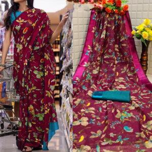 Adorable Rani Pink Color Festive Wear Satin Cotton Patta Designer Printed Saree Blouse For Ladies