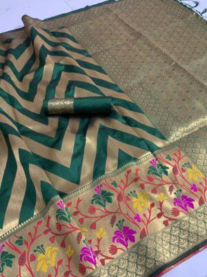 Alluring Rama Green Color Fancy Banarasi Silk All Over Jacquard Work Rich Pallu Saree Blouse