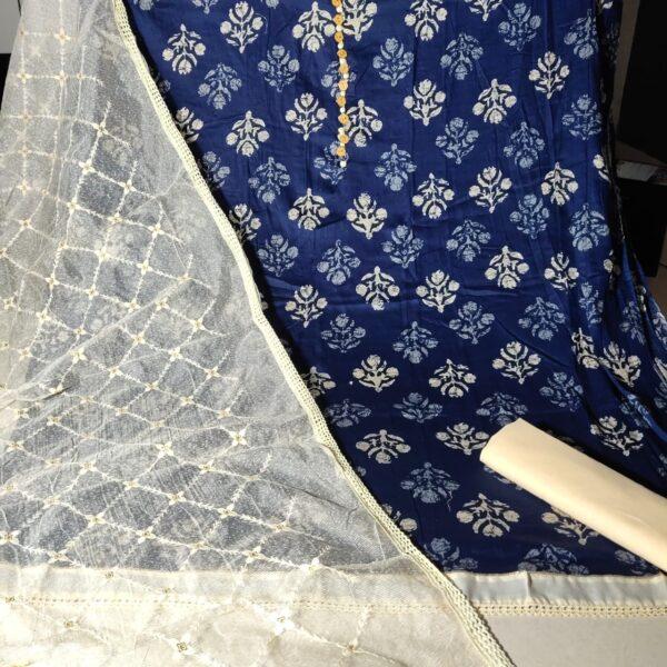Captivating Navy Blue Color Wear Ceramic Cotton Designer Printed Neck Tie Button Pattern Salwar Kameez