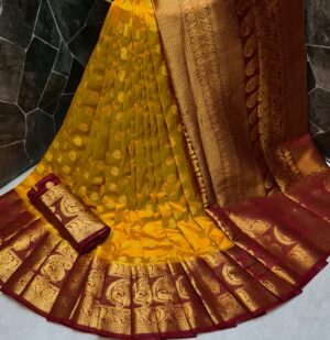 Alluring Mustard Color Function Wear Nylon Silk Rich Pallu Dying Material Saree Blouse