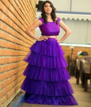 Astonishing Violet Color Full Stitched Designer Tissue Net Ruffle Sequence Work Lehenga Choli