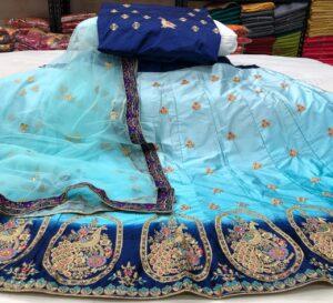 Amazeballs Sky Blue Color Designer Satin Silk Thread Work Wedding Wear Lehenga Choli