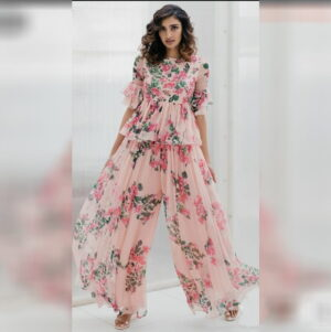 Astonishing Peach Color Full Stitched Designer Georgette Digital Floral Printed Top Plazo