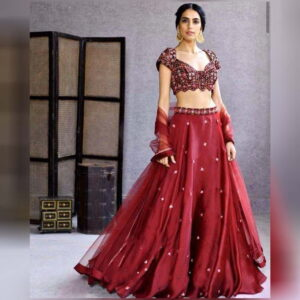Glorious Maroon Color Wedding Wear Satin Georgette Designer Embroidered Work Lehenga Choli