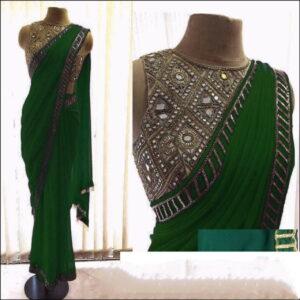 Amazeballs Green Color Wedding Wear Fancy Georgette Designer Coding Embroidered Work Designer Saree Blouse