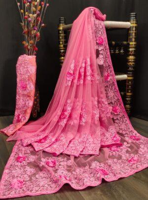 Amazeballs Pink Color Function Wear Nylon Net Embroidered Stone Applique Designer Work Designer Saree Blouse