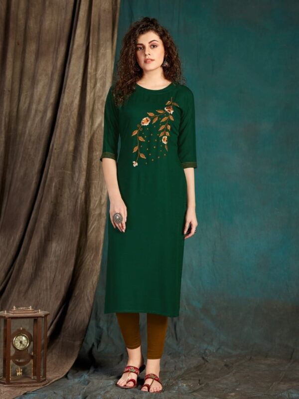 Breathtaking Wear Dark Green Slub Rayon Designer Embroidered Full Stitched Kurti