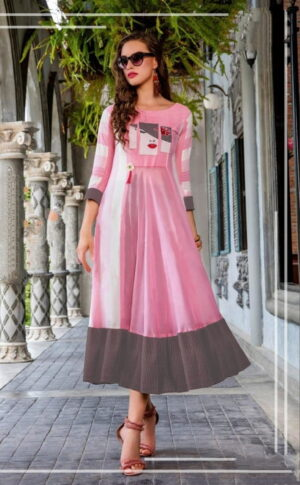 Astonishing Pink Color Full Stitched Cotton Fancy Digital Printed Wear Kurti