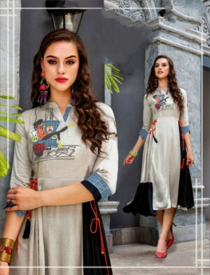 Marvellous Grey Color Party Wear Ready Made Digital Printed Beautiful Cotton Kurti For Women
