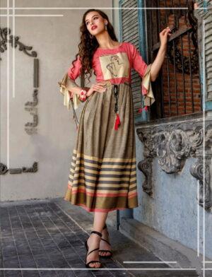 Splendid Multi Color Cotton Digital Printed Designer Full Stitched Kurti For Ladies