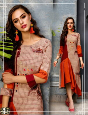 Imposing Maroon Color Designer Digital Printed Full Stitched Cotton Kurti For Party Wear