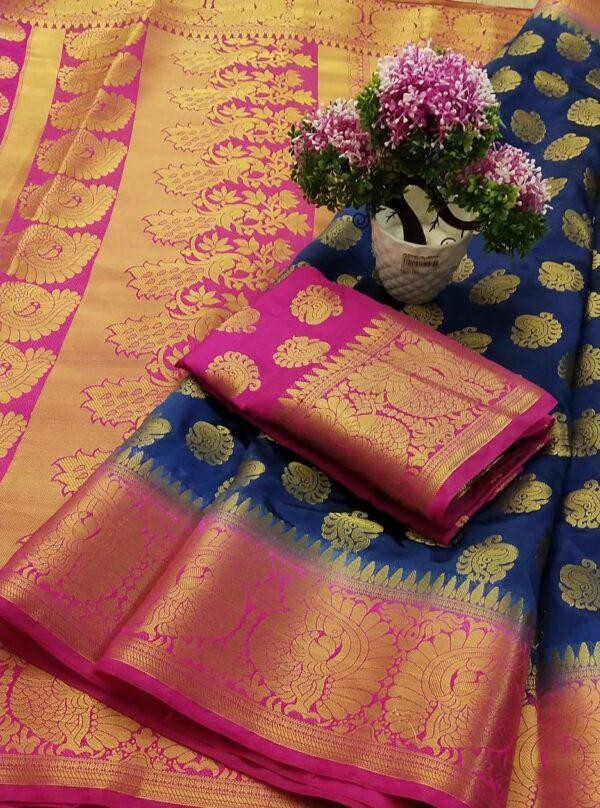 Good-Looking Dark Blue Color Wedding Wear Nylon Silk Grand Pallu Dying Material Saree Blouse