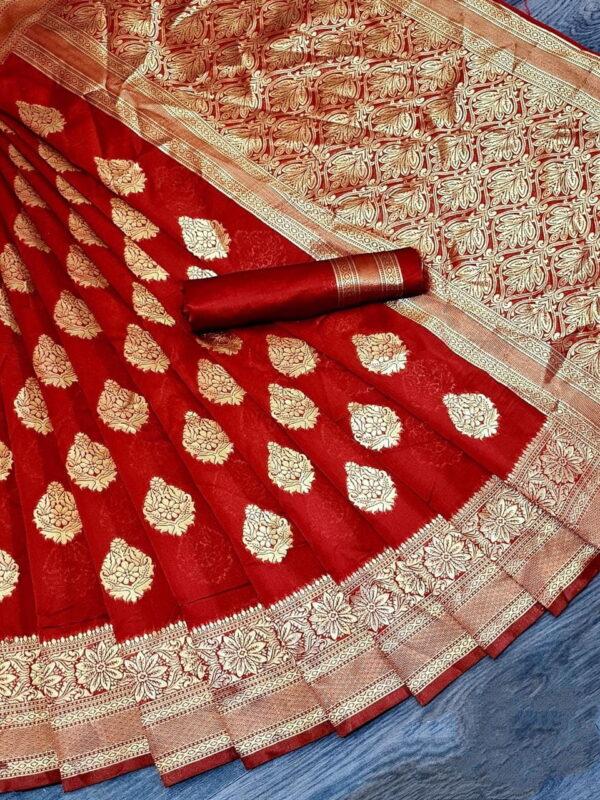 Sensational Red Color Rich Pallu Lichhy Silk Designer Zari Jacquard Work Saree Blouse