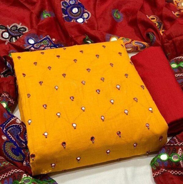Breathtaking Mustard Color Wear Mirror Work Designer Cotton Salwar Kameez