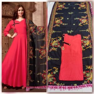 Amazing Pink Color Wedding Wear Full Stitched Rayon Kurti With All Over Embroidered Dupatta