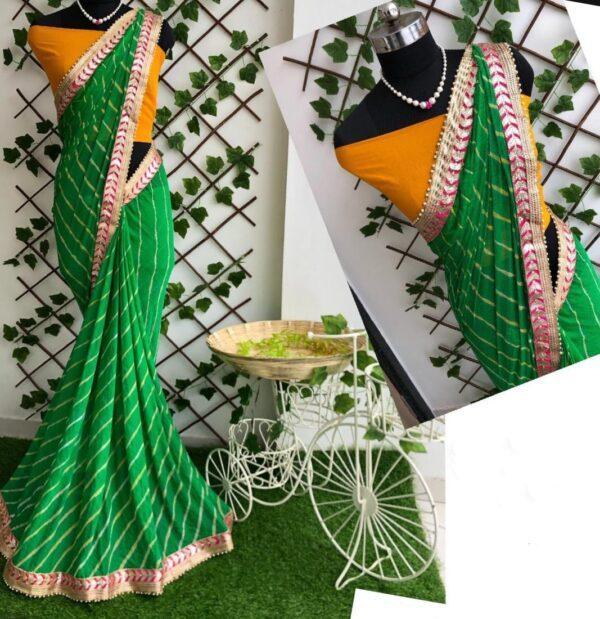 Knockout Green Color Fancy Leheriya Nazmin Gotta Patti Work Designer Saree Blouse