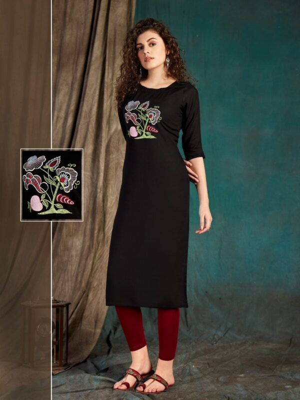 Comely Black Color Party Wear Embroidered Fancy Slub Rayon Ready Made Kurti