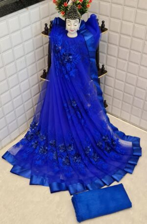 Alluring Royal Blue Color Designer Soft Net Embroidered Pearl Flower Stone Work Saree Blouse