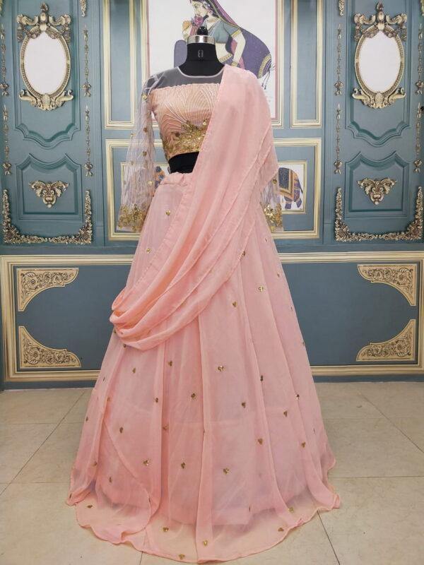 Extraordinary Peach Color Wedding Wear Georgette Designer Sequence Embroidered Lehenga Choli