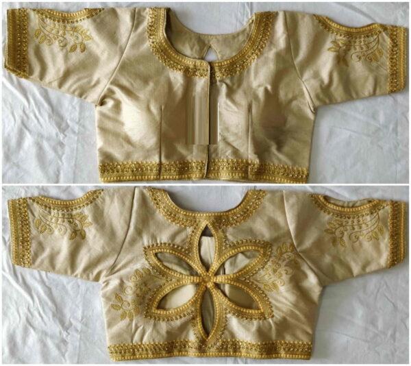Incredible Cream Color Full Stitched Fantom Silk Zari Thread Embroidered Stone Cut Work Wedding Wear Blouse