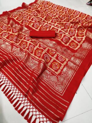 Bewitching Wear Red Color Fancy Bandhani Cotton Foil Printed Saree Blouse