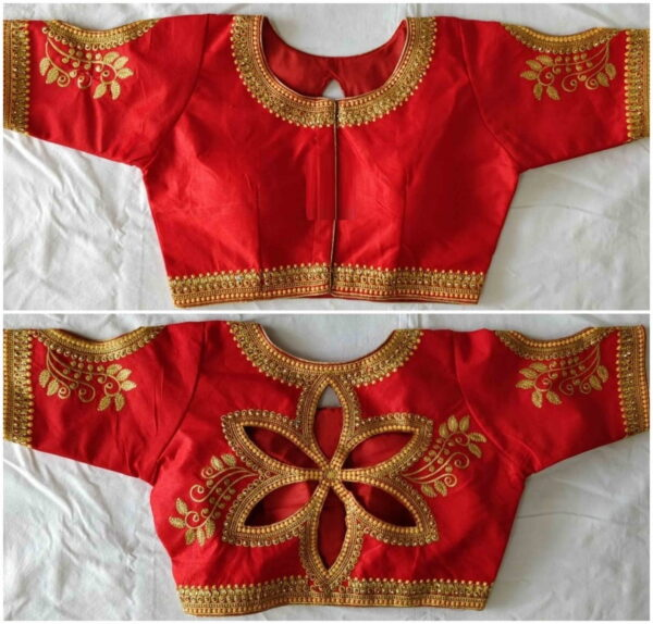 Extraordinary Red Color Full Stitched Wear Fantom Silk Embroidered Zari Thread Stone Cut Work Blouse