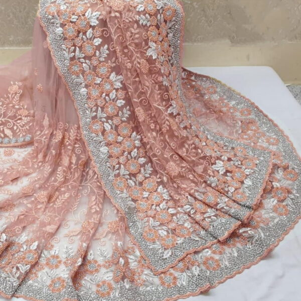 Glorious Peach Color Function Wear Motti Ceramic jarkhand Embroidered Fancy Work Soft Net Saree Blouse