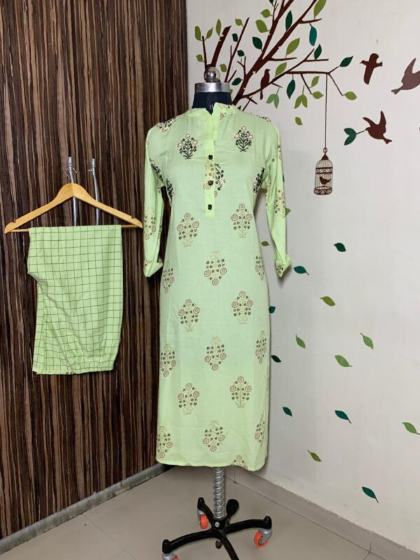Exquisite Light Green Color Full Stitched Rayon Printed Hand Work Plazo Kurti