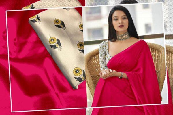 Captivating Magenta Color Wear Satin Silk Plain Saree Blouse