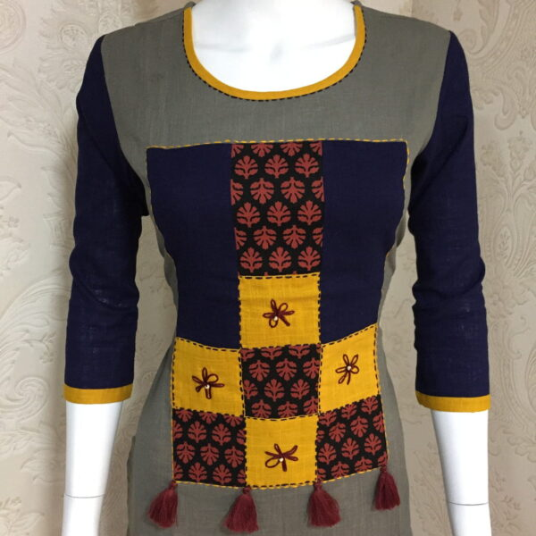 Knockout Grey Color Full Stitched Slub Cotton Designer Printed Kurti