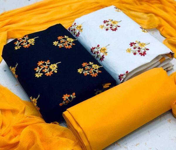 Tremendous Multi Color 2 Top Chanderi Printed Salwar Kameez Set