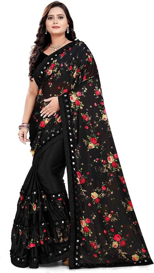 Bootylicious Party Wear Black Color Digital Printed Lycra Blend Silk Designer Saree Blouse