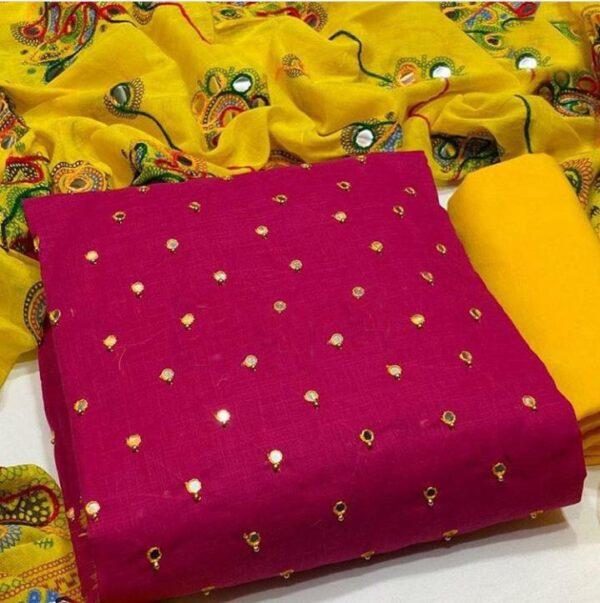 Mind-Blowing Magenta Color Wedding Wear Mirror Work Fancy Cotton Salwar Kameez