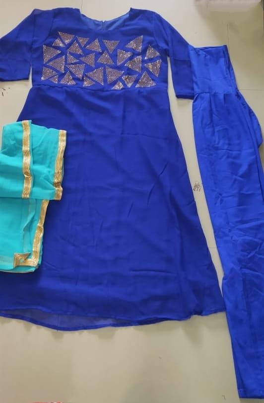 Splendid Party Wear Royal Blue Color Faux Georgette Diamond Work Ready Made Salwar Kameez