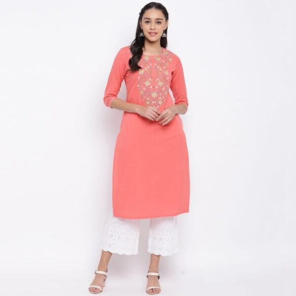Amazeballs Peach Color Ready Made Party Wear Cotton Designer Embroidered Kurti