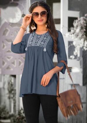 Tremendous Dark Grey Color Designer Jam Cotton Embroidered Full Stitched Top