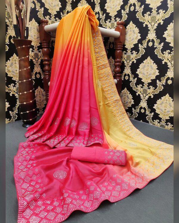 Mind-Blowing Yellow Color Wear Satin Silk HB Machine Stone Diamond Work Saree Blouse