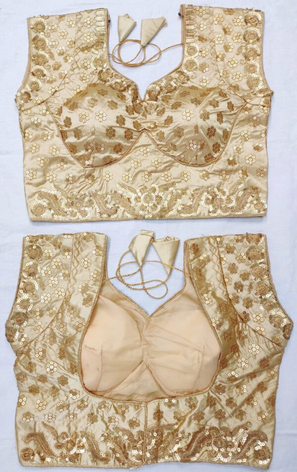 Wonderful Cream Color Embroidered Sequence Work Fancy Tapetta Silk Full Stitched Wedding Wear Blouse