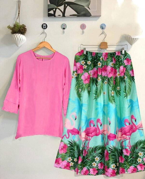 Impressive Light Pink Color Designer Digital Printed Rayon Full Stitched Top Skirt