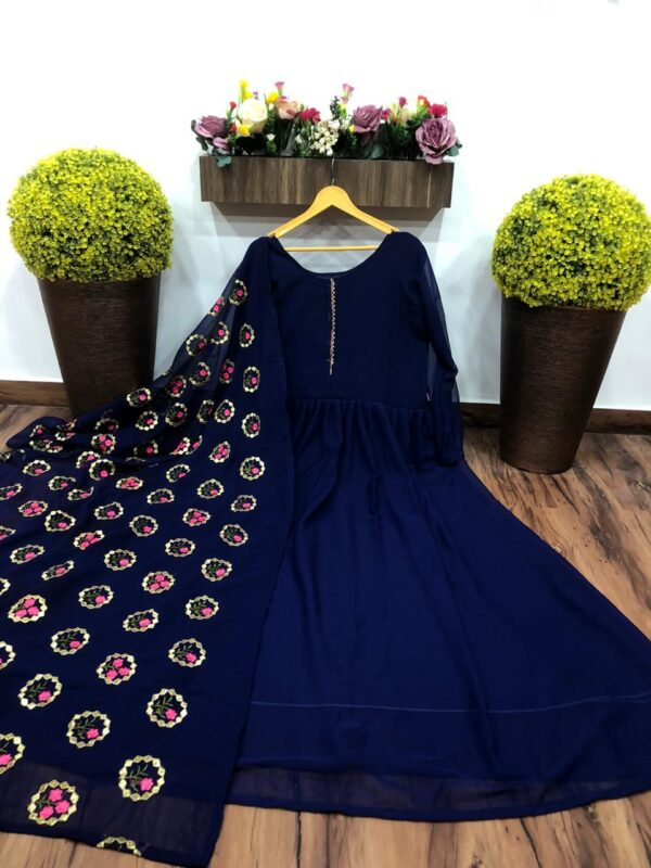 Exquisite Navy Blue Color Georgette Plain Gown With Embroidered Dupatta Full Stitched