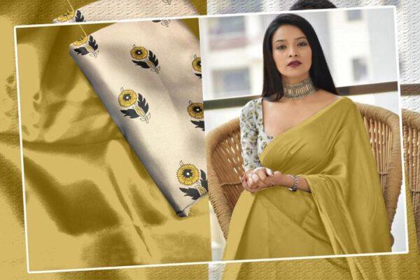 Glorious Mustard Color Designer Satin Silk Plain Saree Blouse