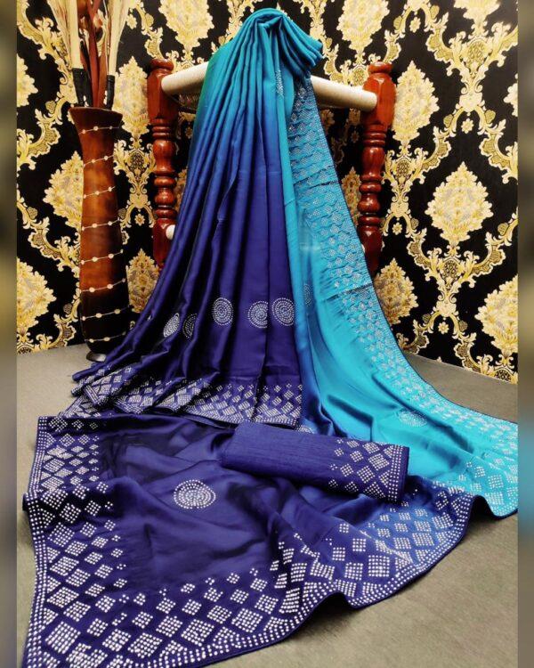 Fantastic Sky Blue Color Designer Party Wear HB Diamond Stone Machine Work Satin Silk Saree Blouse
