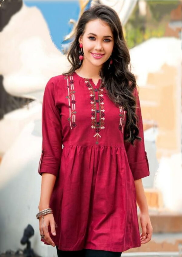 Super Party Wear Maroon Color Designer Embroidered Jam Cotton Full Stitched Top
