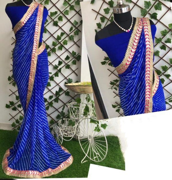 Smashing Royal Blue Color Designer Gotta Patti Work Nazmin Leheriya Saree Blouse